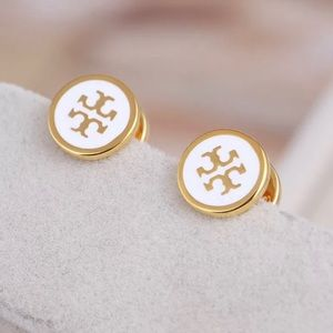 Tory Burch White Lacquered TLogo GoldStud Earrings
